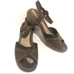 Merrell Sandals Heel Slingback Leather Coffee 10